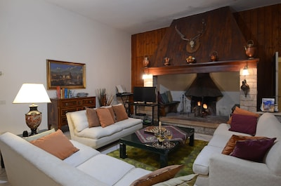 In the living room a huge fireplace with 2 benches inside, 3 sofas, bookcase.