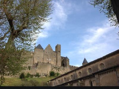 Carcassonne Cite apartamento con vistas, patio privado y aire acondicionado