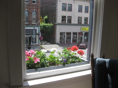 Window boxes along the front of the building  (369 Court NE).