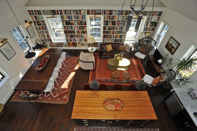 View of the book-bedecked living room from the balcony.