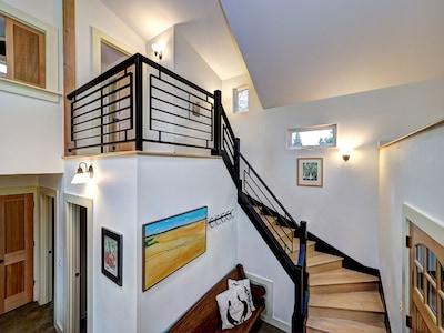 winding maple stairs