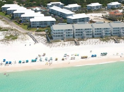 Aerial view of Beachside Villas from the gulf