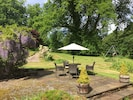 Outdoor dining area and swings