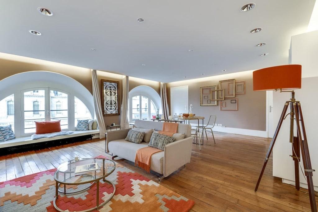 Parisian apartment with orange-toned interior