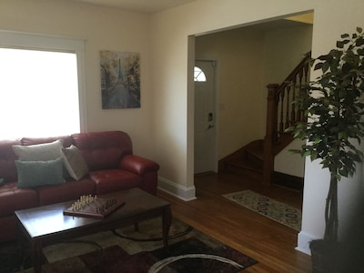 Spacious living room with new Simmons queen sofa sleeper