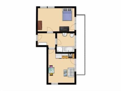 Ferienwohnung Bergblick, Typ B, 45qm, 1 Schlafzimmer, max. 3 Personen