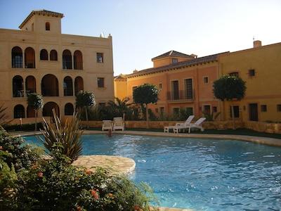 The communal pool area