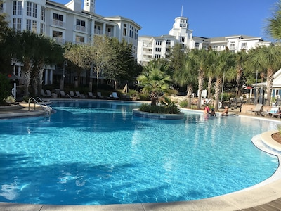 lagoon pool with two hot tubs and children's pool pool