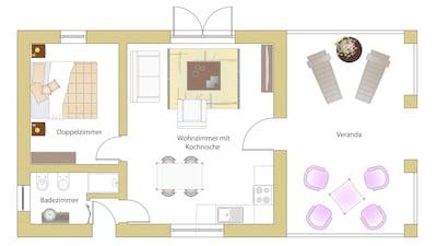 house:54 m2 + veranda 26 m2