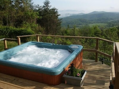 Summer Time at The Cabin Hot Tub for Relaxing