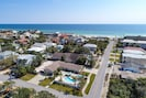 Drone view of Cabanas. The Gulf and white sand beaches are just a 2 minute walk.