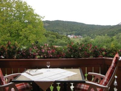 """Ferienwohnung """"Widercherie"""", 45qm, 1 Schlafzimmer, max. 2 Personen-Blick vom Balkon"""