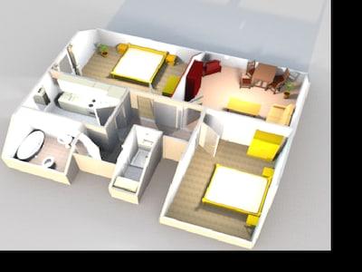 Ferienwohnung Ute mit 68qm, 2 Schlafzimmer, max. 4 Personen-Grundriss