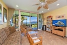 The #114 living room faces the Pacific Ocean - You will see Honokeana Cove, the Pacific & the island of Molokai