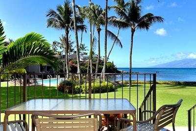 View from #114 lanai - The #114 lanai opens to the pool & Honokeana Cove, with Molokai beyond