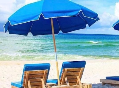Your complimentary beach chairs and umbrella