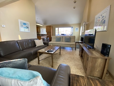 Large Family room/dining area and kitchen, and patio with door that folds up!