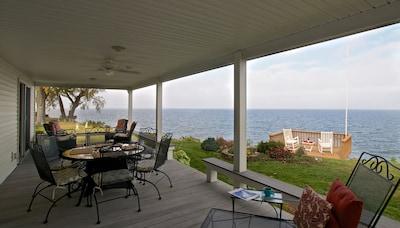 Breathtaking views of Lake Ontario on the spacious deck.