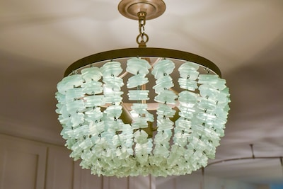 Sea glass chandalier welcomes you home!