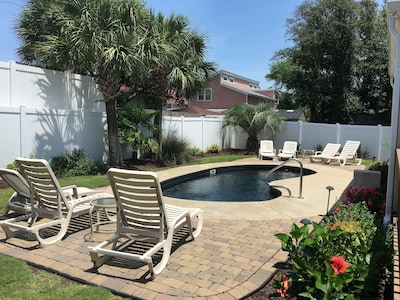 Each cottage has its own side of the pool as well as pool entrance.