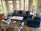 NEW !  We've rearranged the living room and added comfy Pottery Barn couches.