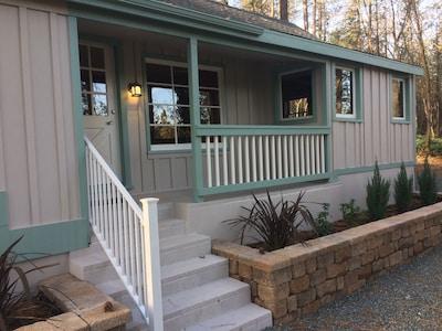 Entrance on north side of cottage