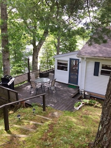 Looking onto rear deck of cottage