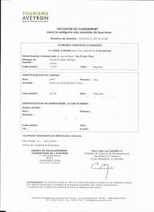 décision de classement  par Tourisme Aveyron  décembre 2019