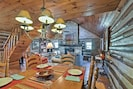 Share meals at the rustic wood table.