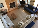 Main Family Room: lakefront & dune views, vltd ceiling, open to kitchen/dining