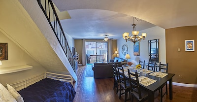 The diningroom looks out onto a patio with a BBQ, propane supplied.