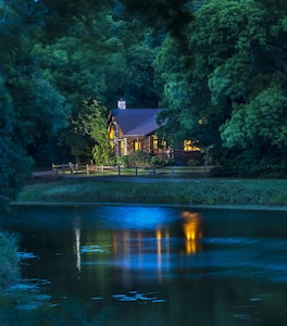 View from pond at dusk.