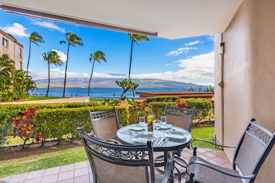 View from private lanai (balcony) with 4 seats. Enjoy the view and sound of wav