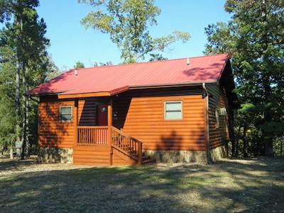 Front of cabin and parking area