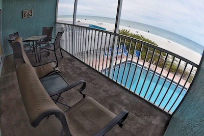 Balcony with view of Pool Beach and Gulf of Mexico