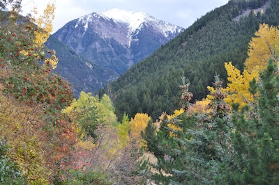 Looking up Emigrant Creek at a 10,000 foot peak- view from kitchen window