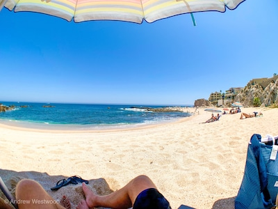 Enjoy the sun and ocean at the spectacular local private beach.  3 minute walk