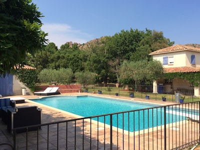 piscine vue depuis le pool house