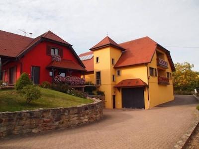 Le Gîte le Muscat se trouver au 1er étage de la maison jaune