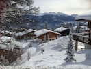 Chalet Campanule from the rear and the 4 valleys  ski area opposite