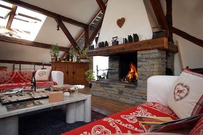 Espace salon cheminée