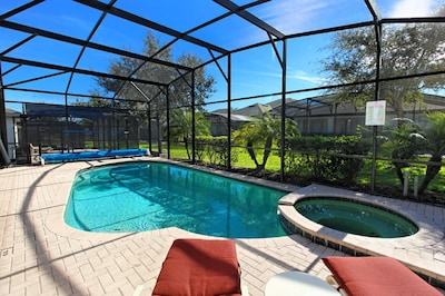 The Palm Trees & Viburnum bushes provide extra pool and spa privacy.