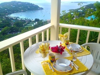 From your dinning table see Great Cruz Bay & Chocolate Hole