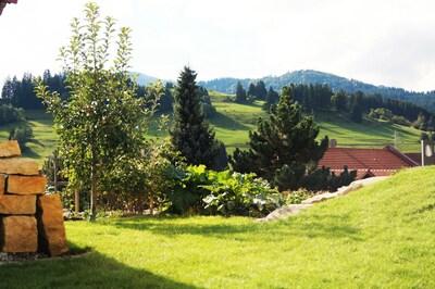 Bergblick aus dem Wohn-/Eßzimmer nach Süden, Garten
