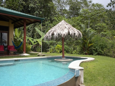Relax in the pool while enjoying a cool drink under the palapa