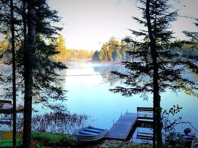 Early Fall Morning view from your cabin and  with your Private Dock and Row Boat