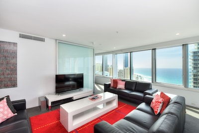 Living room looking to  Surfers Paradise & the Beach