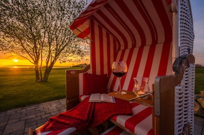 Seepark-Ferienhaus-Rügen, Gemütlichkeit im Garten m.Strandkorb