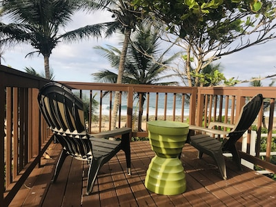 Private Deck with ocean view and accessto the beach