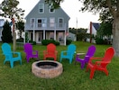 Riverside fire pit with Adirondack chairs (complimentary firewood included)